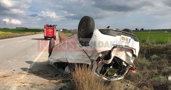 Geçitkale-Akova anayoluda kaza 3 yaralı
