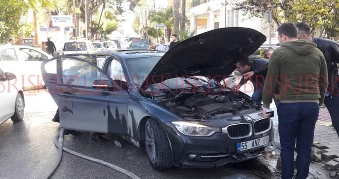 Kaza yaptı otomobili yandı