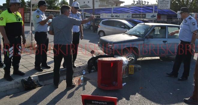 Paketçi genç hafif yaralandı