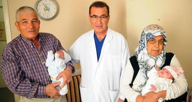 56 yaşında ikiz bebek sevinci