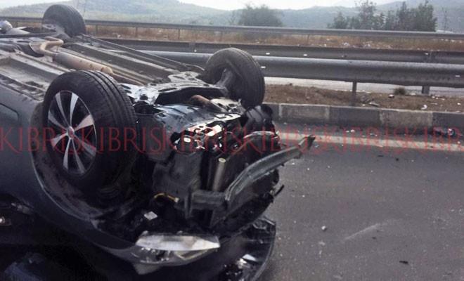Araç takla attı, şoförün beli kırıldı