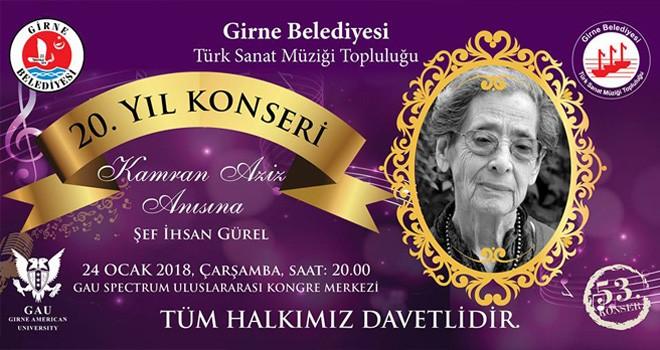 Girne Belediyesi Türk Sanat Müziği Topluluğu'ndan 20'nci yıl konseri