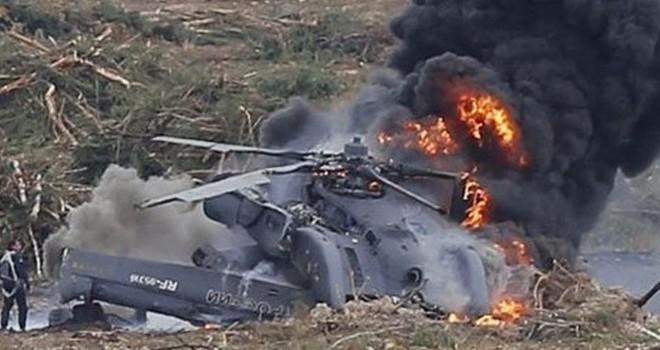 Ukrayna'da helikopter düştü