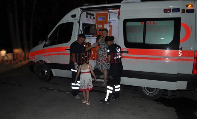 Hamile kadın ve kızı hafif yaralandı