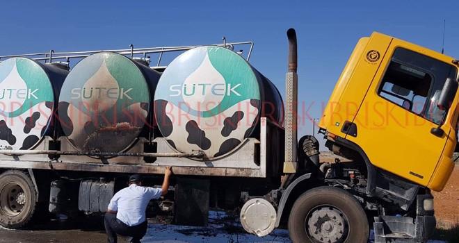 Süt tankeri yanıyordu