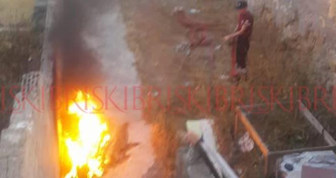 Gazimağusa'da motosiklet yangını
