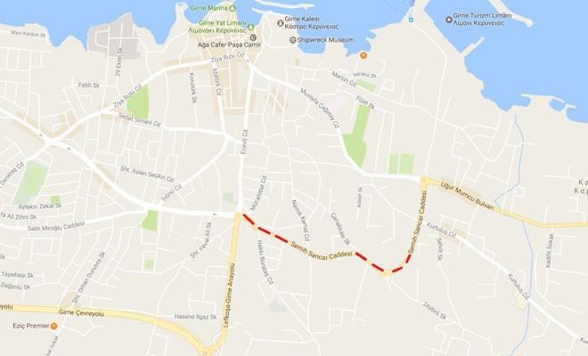 Girne'de Semih Sancar Caddesi'nin bir bölümü trafiğe kapalı