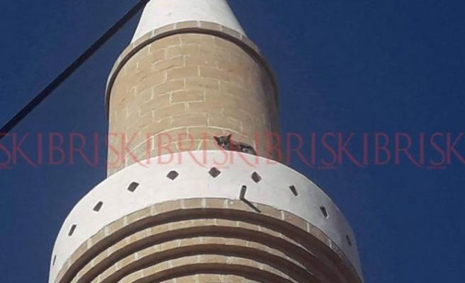 Minarede mahsur kalan tilki, kurtarma ekibinden ürküp, atladı