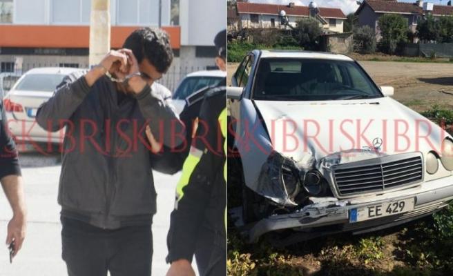 Çaldığı arabayla kaza yaptı