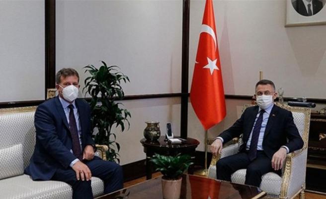 Türkiye Cumhuriyeti Cumhurbaşkanı Yardımcısı Oktay, Başbakan Yardımcısı, Ekonomi ve Enerji Bakanı Arıklı'yı kabul etti