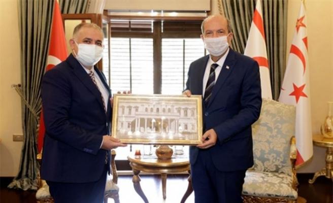 Cumhurbaşkanı Tatar, İTÜ Rektörü Prof Dr. Koyuncu ve beraberindeki heyeti kabul etti