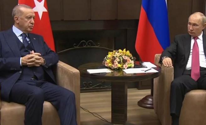 Türkiye Cumhuriyeti Cumhurbaşkanı Erdoğan ile Putin arasındaki görüşme başladı