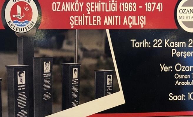 Ozanköy Şehitler Anıtı düzenlenen törenle açıldı