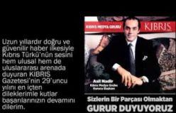 Kıbrıs Gazetesi'nin 29. Kuruluş Yıldönümü Kutlama Mesajları