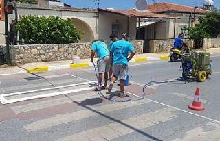 Girne'de yol çizgileri yenileniyor!