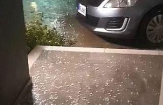 Lapta ve Alsancak'ta dolu yağışı