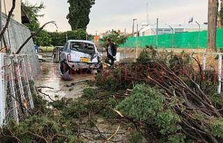 Servi ağaçları gövdeden koptu, ev ve araçlar...