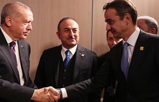 Erdoğan, Yunanistan Başbakanı Miçotakis ile görüştü