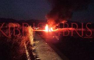 Yılmazköy yolu üzerinde araç yandı