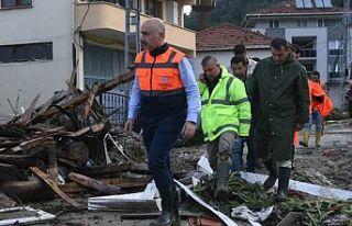 Karaismailoğlu sel felaketinin yaşandığı Sinop'ta...