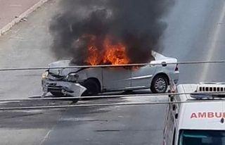 Gazimağusa'da korkutan kaza! Araç kül oldu
