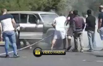 Girne – Lefkoşa yolunda araç yandı