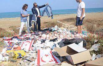 KKTC bayraklarını çöpe atan kişiye yasal işlem