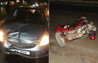 Motosikletlinin hayatını başındaki kask kurtardı