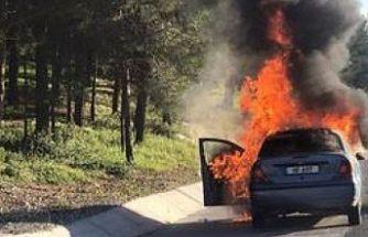 Lefkoşa-Girne yolunda araç yangını
